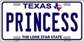 Princess Texas Background Novelty Metal License Plate