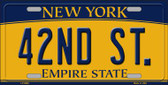 42nd St New York Background Novelty Metal License Plate