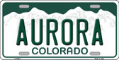 Aurora Colorado Background Novelty Metal License Plate