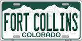 Fort Collins Colorado Background Novelty Metal License Plate