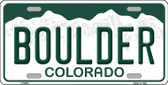 Boulder Colorado Background Novelty Metal License Plate