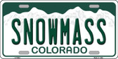 Snowmass Colorado Background Novelty Metal License Plate