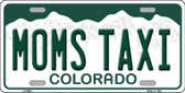 Moms Taxi Colorado Background Novelty Metal License Plate