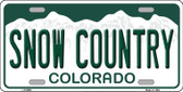 Snow Country Colorado Background Novelty Metal License Plate