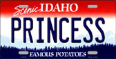 Princess Idaho Background Novelty Metal License Plate