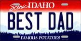 Best Dad Idaho Background Novelty Metal License Plate