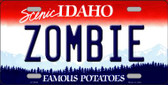 Zombie Idaho Background Novelty Metal License Plate