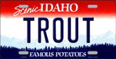 Trout Idaho Background Novelty Metal License Plate