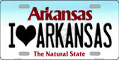 I Love Arkansas Background Novelty Metal License Plate