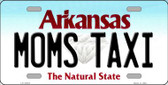 Moms Taxi Arkansas Background Novelty Metal License Plate