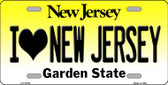 I Love New Jersey Background Novelty Metal License Plate