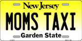 Moms Taxi New Jersey Background Novelty Metal License Plate