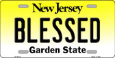 Blessed New Jersey Background Novelty Metal License Plate