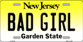 Bad Girl New Jersey Background Novelty Metal License Plate