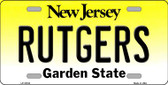 Rutgers New Jersey Background Novelty Metal License Plate