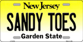 Sandy Toes New Jersey Background Novelty Metal License Plate