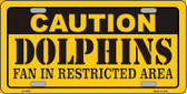 Caution Dolphins Metal Novelty License Plate