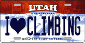 I Love Climbing Utah Background Novelty Metal License Plate