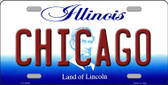 Chicago Illinois Background Metal Novelty License Plate