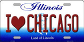 I Love Chicago Illinois Background Metal Novelty License Plate