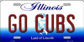 Go Cubs Illinois Background Metal Novelty License Plate