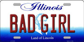 Bad Girl Illinois Background Metal Novelty License Plate