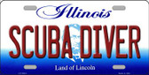 Scuba Diver Illinois Background Metal Novelty License Plate
