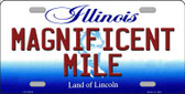 Magnificent Mile Illinois Background Metal Novelty License Plate