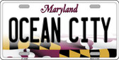 Ocean City Maryland Background Metal Novelty License Plate