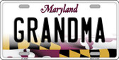 Grandma Maryland Background Metal Novelty License Plate