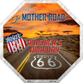 Route 66 With Sunset Metal Novelty Stop Sign