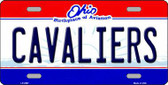 Cavaliers Ohio Novelty State Background Metal License Plate