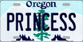 Princess Oregon Background Metal Novelty License Plate