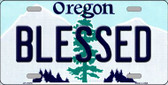 Blessed Oregon Background Metal Novelty License Plate