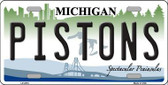 Pistons Michigan Novelty State Background Metal License Plate