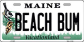 Beach Bum Maine Background Metal Novelty License Plate