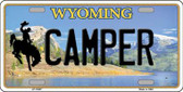 Camper Wyoming Background Metal Novelty License Plate