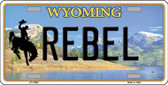 Rebel Wyoming Background Metal Novelty License Plate