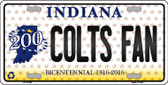 Colts Fan Bicentennial Indiana Background Novelty Metal License Plate