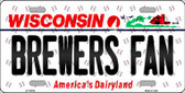 Brewers Fan Wisconsin Background Novelty Metal License Plate