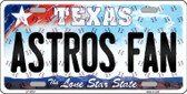 Astros Fan Texas Background Novelty Metal License Plate