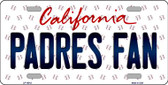 Padres Fan California Background Novelty Metal License Plate
