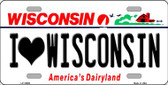 I Love Wisconsin Background Metal Novelty License Plate