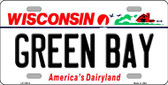 Green Bay Wisconsin Background Metal Novelty License Plate