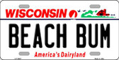 Beach Bum Wisconsin Background Metal Novelty License Plate