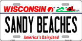Sandy Beaches Wisconsin Background Metal Novelty License Plate