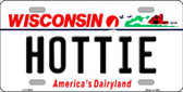 Hottie Wisconsin Background Metal Novelty License Plate
