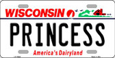 Princess Wisconsin Background Metal Novelty License Plate