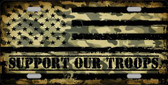 Camo American Flag Support Troops Novelty Metal License Plate
