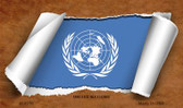 United Nations Flag Scroll Novelty Metal Magnet